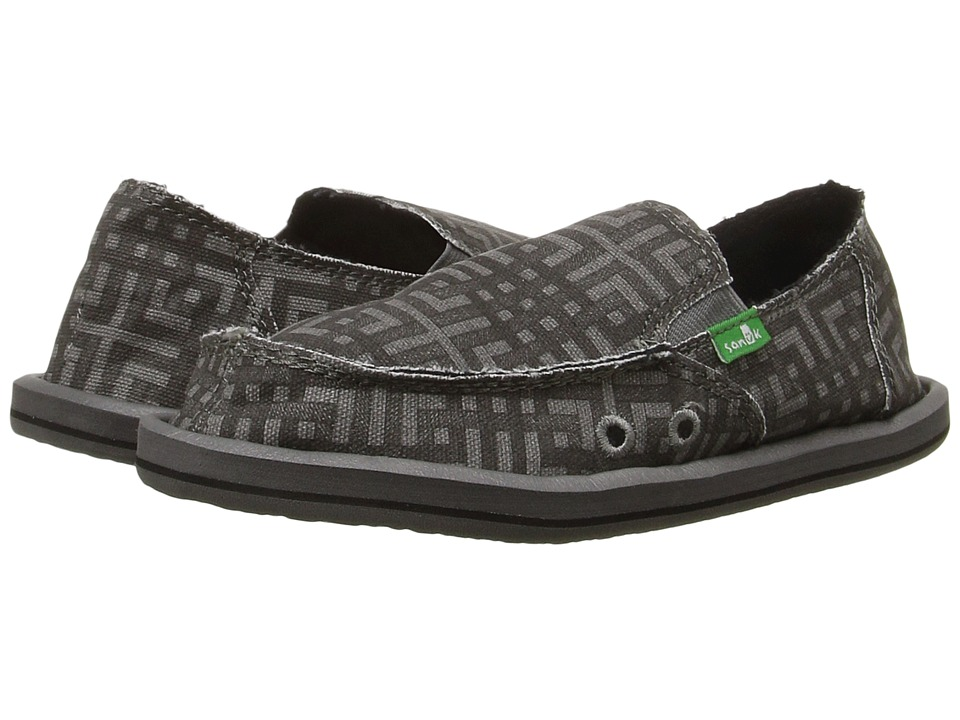 Sanuk Kids - Lil Donny Funk (Little Kid/Big Kid) (Black/Charcoal Grid) Boys Shoes