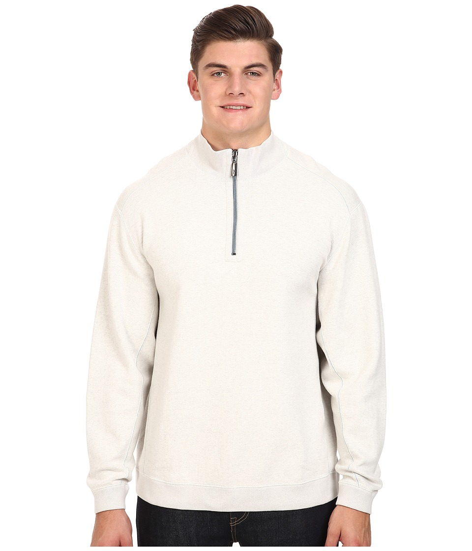 Tommy Bahama Big & Tall - Big Tall New Flip Side Pro Reversible 1/2 Zip (Winter White Heather) Men's Clothing