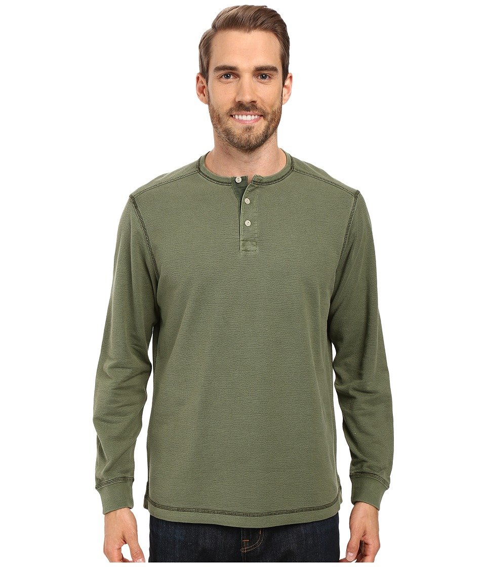 Tommy Bahama - Shore Break Henley (Beetle Green) Men's Clothing