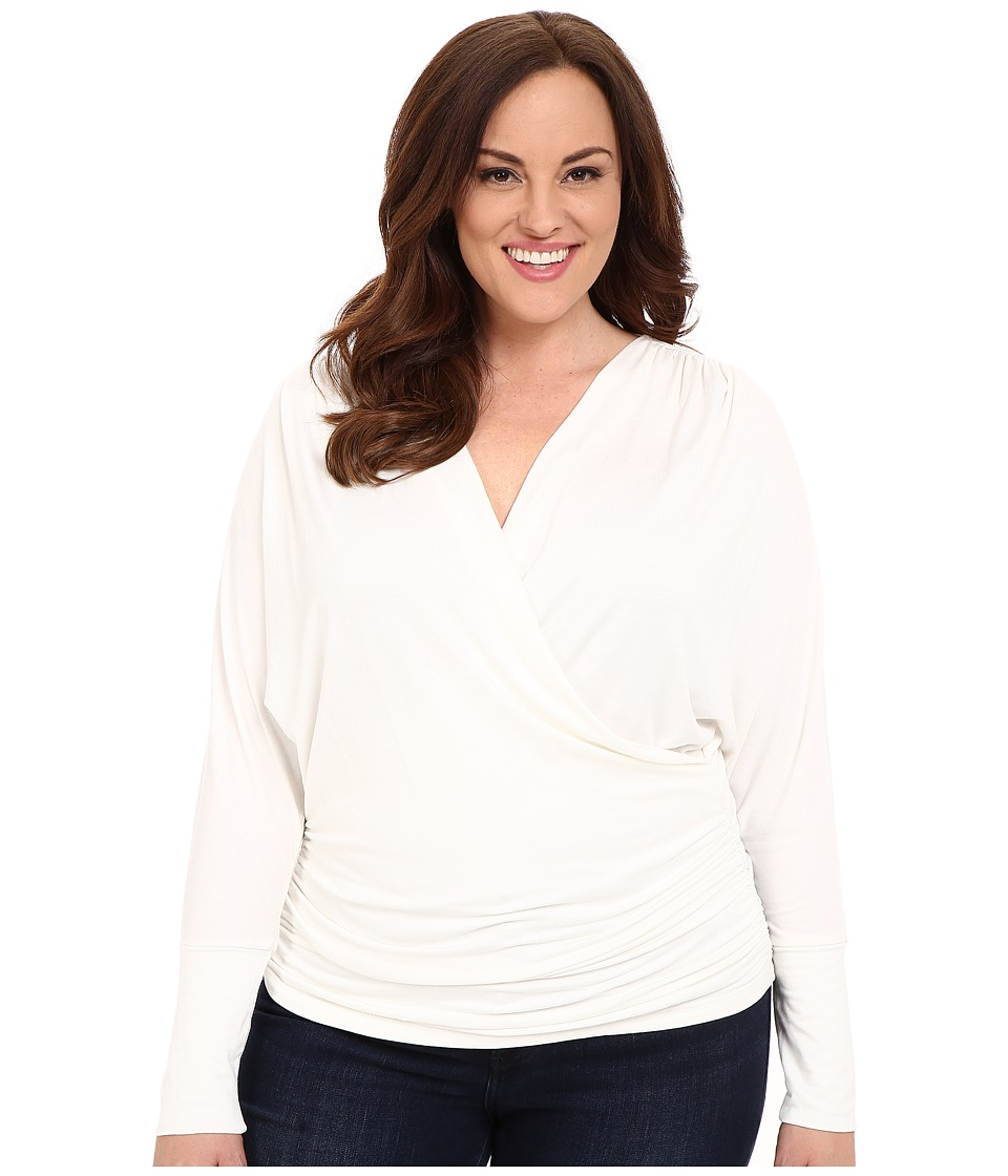 Kiyonna - Femme Faux Wrap Top (Magnolia) Women's Long Sleeve Pullover