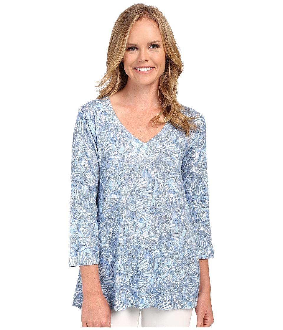 Nally & Millie - Paisley Tunic (Blue) Women's Blouse