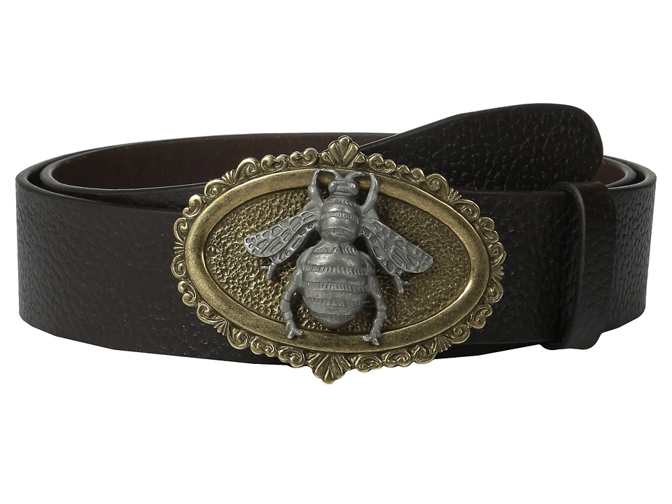 Dolce & Gabbana - Large Bee Buckle Belt (Brown) Men's Belts