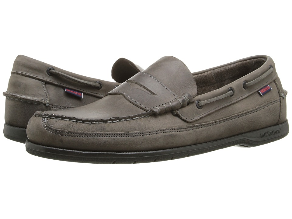 Sebago - Sloop (Dark Grey Tumbled Leather) Men's Slip on Shoes