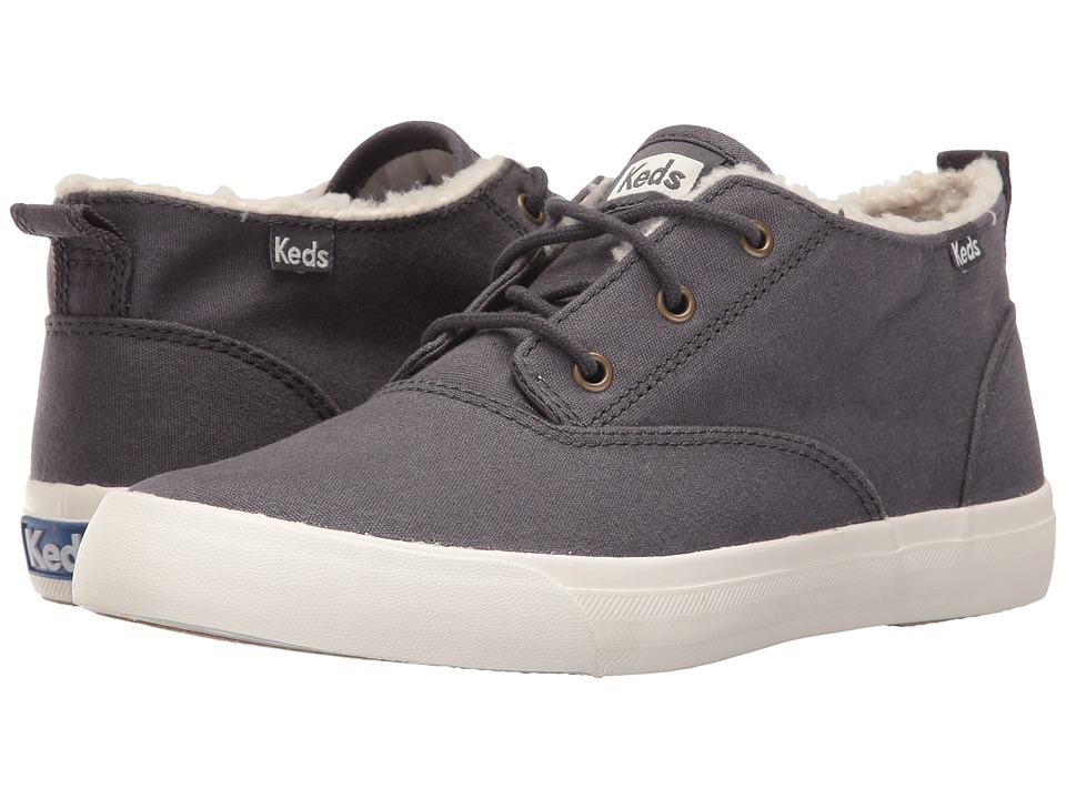 Keds - Triumph Mid Brushed Canvas with Faux Shearling (Charcoal) Women's Lace up casual Shoes