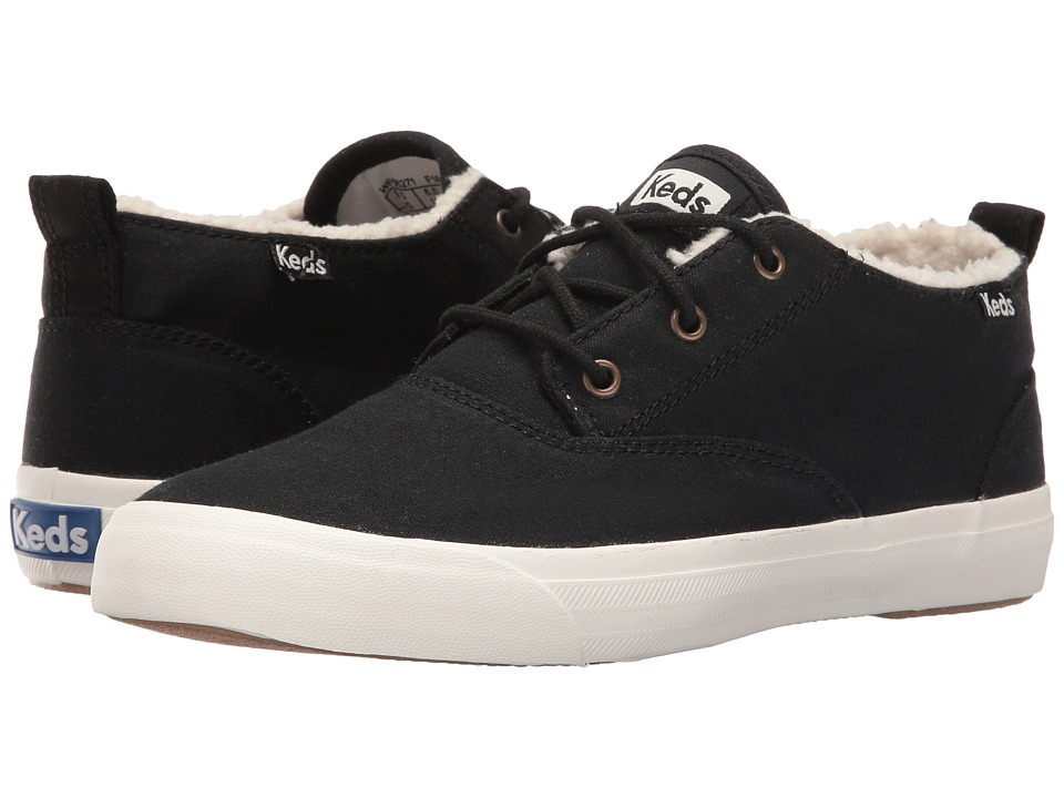 Keds - Triumph Mid Brushed Canvas with Faux Shearling (Black) Women's Lace up casual Shoes