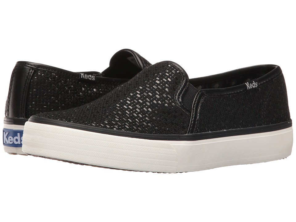 Keds - Double Decker Matte Woven (Black) Women's Slip on Shoes
