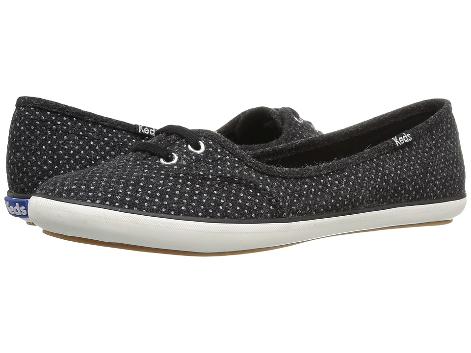 Keds - Teacup Glitter Wool (Black) Women's Flat Shoes