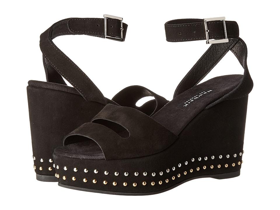 NewbarK - Maggie Wedge (Black Suede/Studs) Women's Wedge Shoes