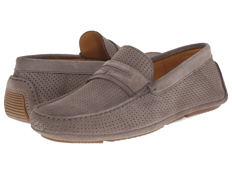 Aquatalia - Bruce (Stone Grey Woven Suede) Men's Slip on Shoes