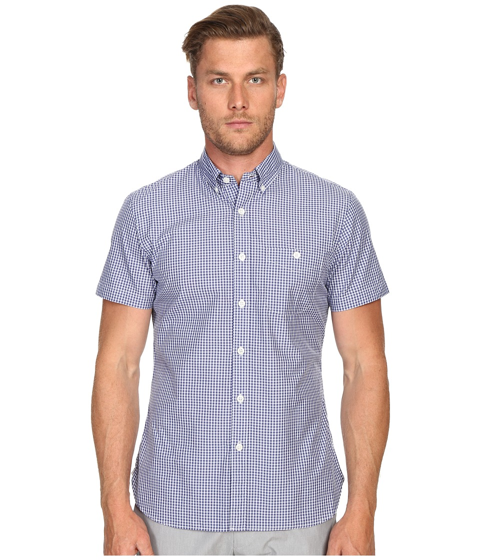 Todd Snyder - Short Sleeve Mini Check Button Up (Blue) Men's Short Sleeve Button Up