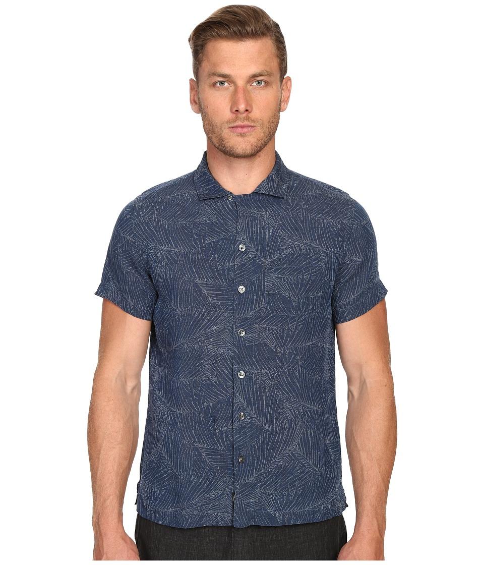 Todd Snyder - Short Sleeve Convertible Collar Button Up (Indigo) Men's Short Sleeve Button Up
