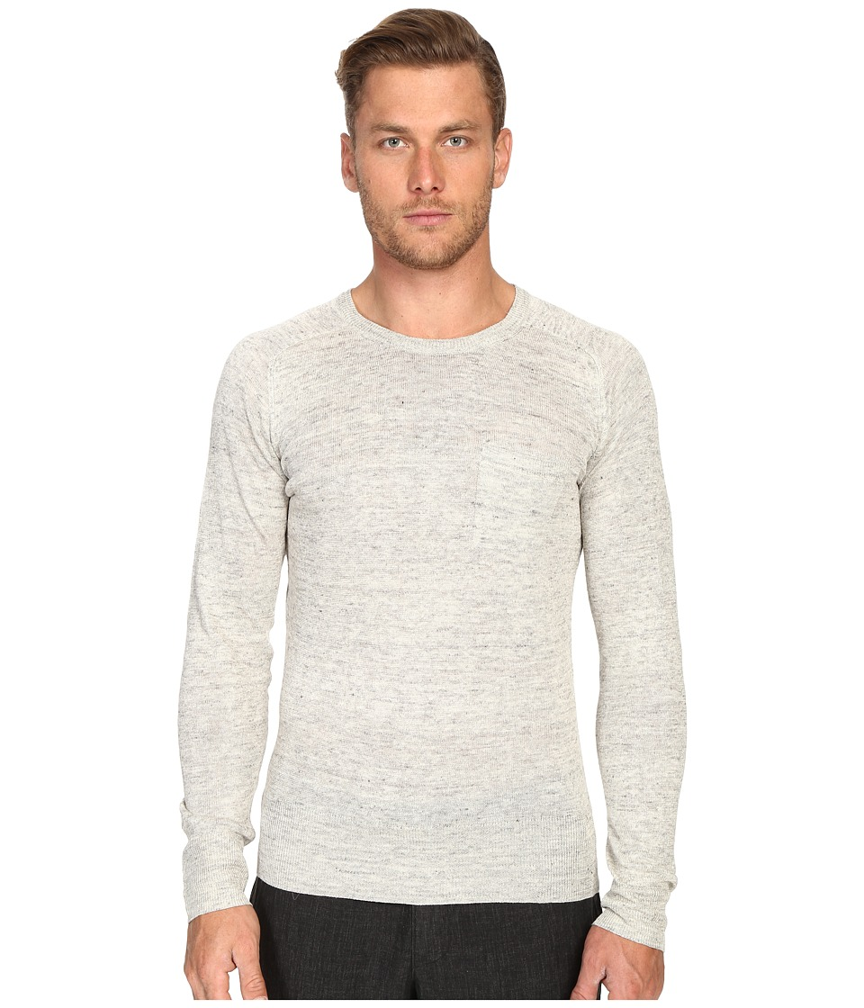 Todd Snyder Saddle Pocket Crew Sweater (Light Grey) Men