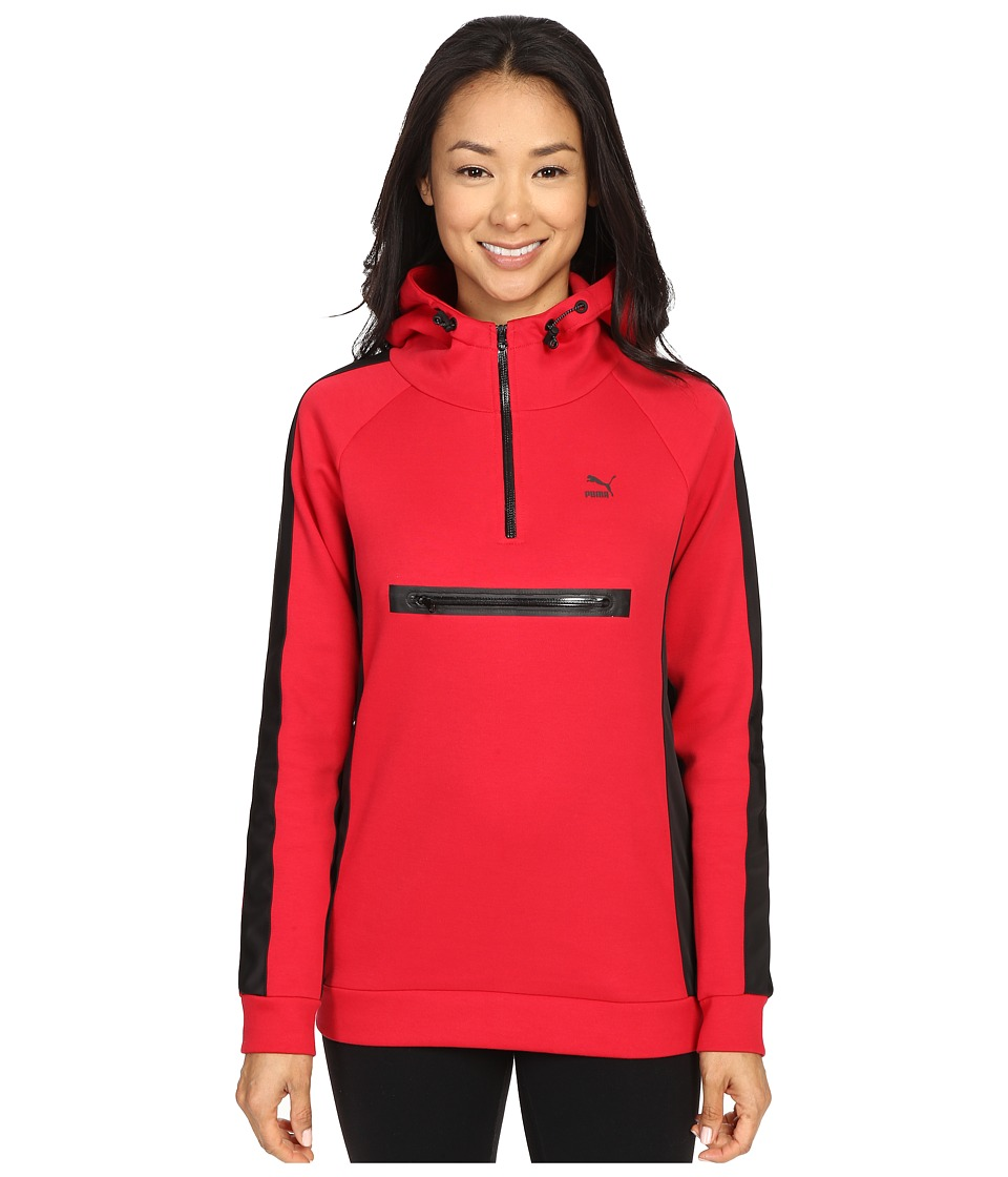PUMA - 1/2 Zip Hoodie (Lipstick Red/Black) Women's Sweatshirt