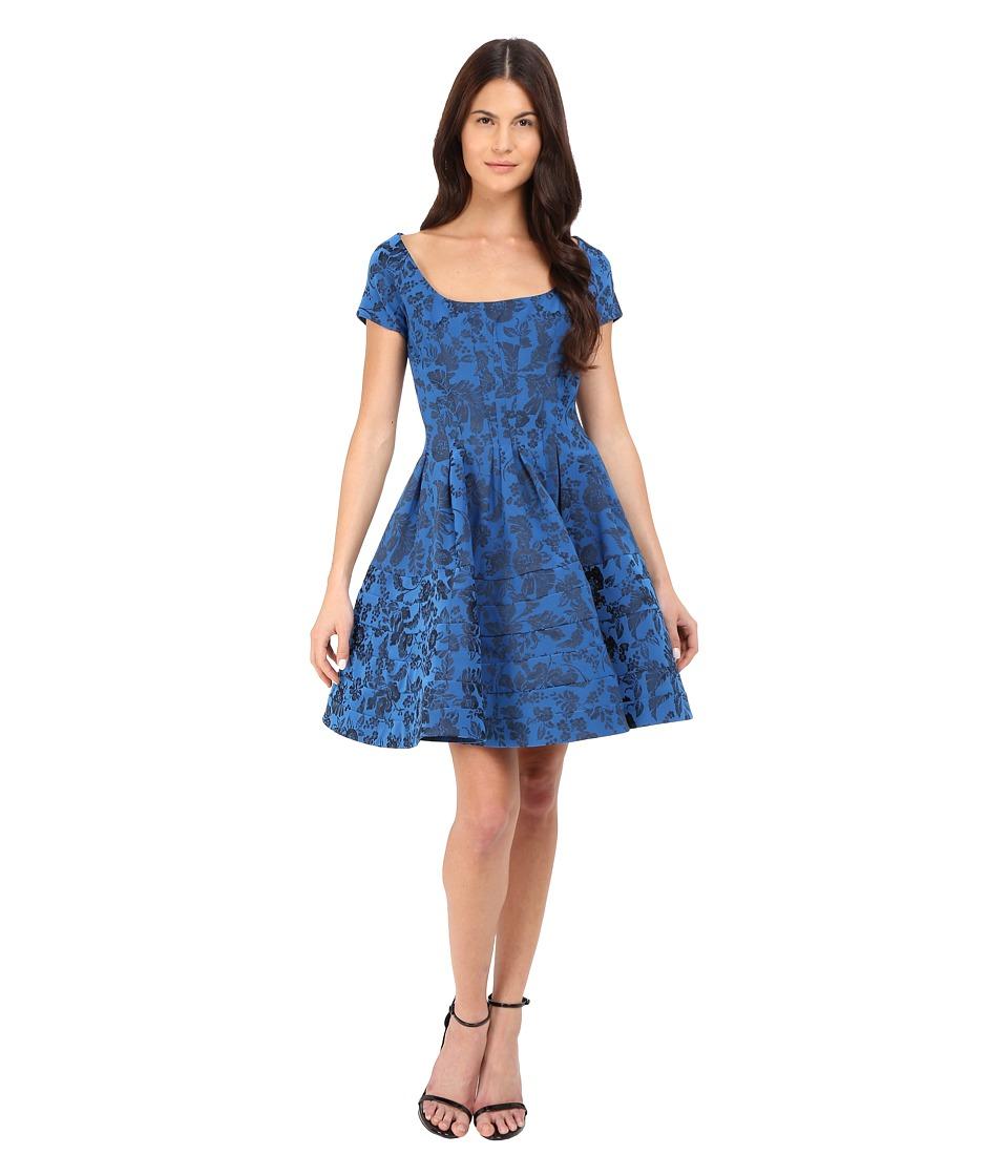 Zac Posen Cap Sleeve Fit Flare Dress (Royal Blue) Women