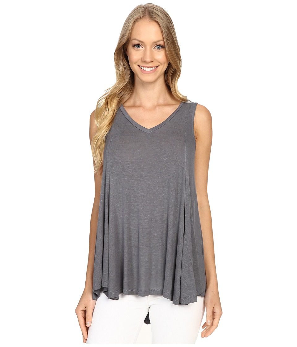 B Collection by Bobeau - Addilyn Voluminous V-Neck Knit Tank Top (Charcoal Grey) Women's Sleeveless