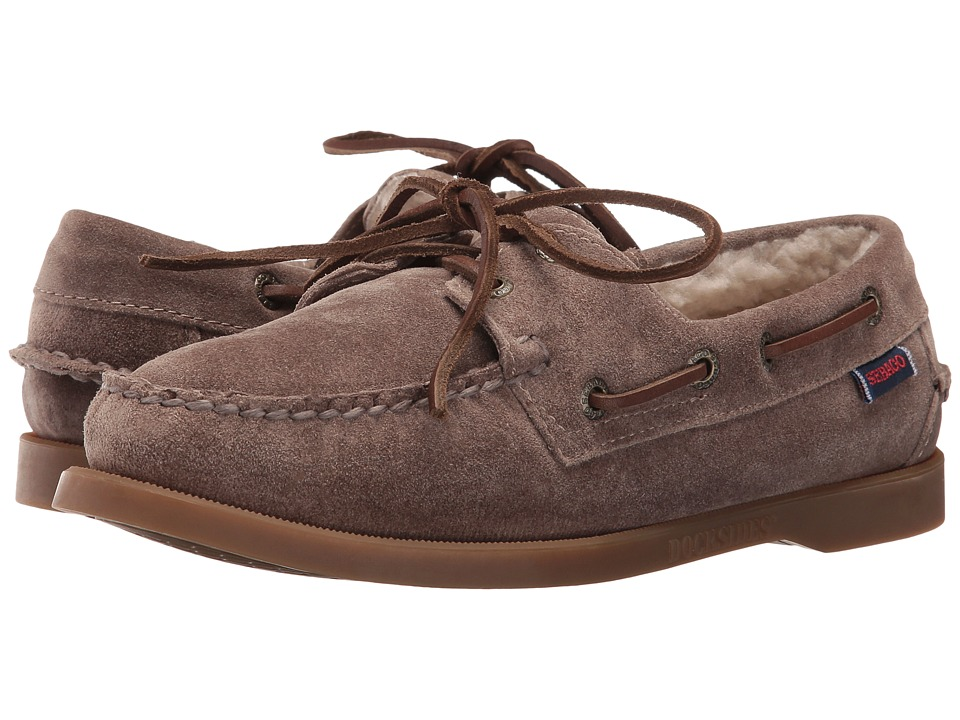 Sebago - Dockside Shearling (Dark Taupe Leather) Women's Shoes