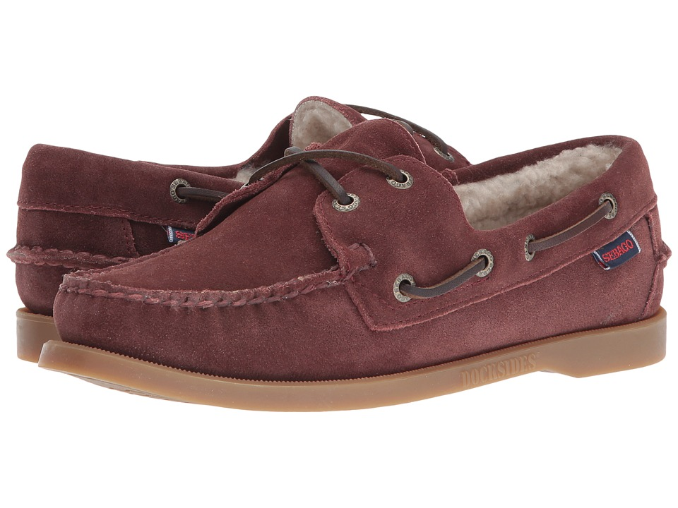 Sebago - Dockside Shearling (Burgundy Suede) Women's Shoes