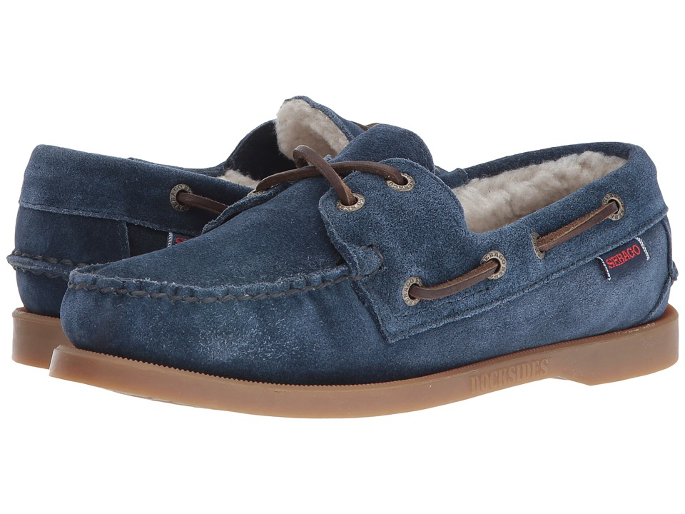 Sebago - Dockside Shearling (Navy Suede) Women's Shoes