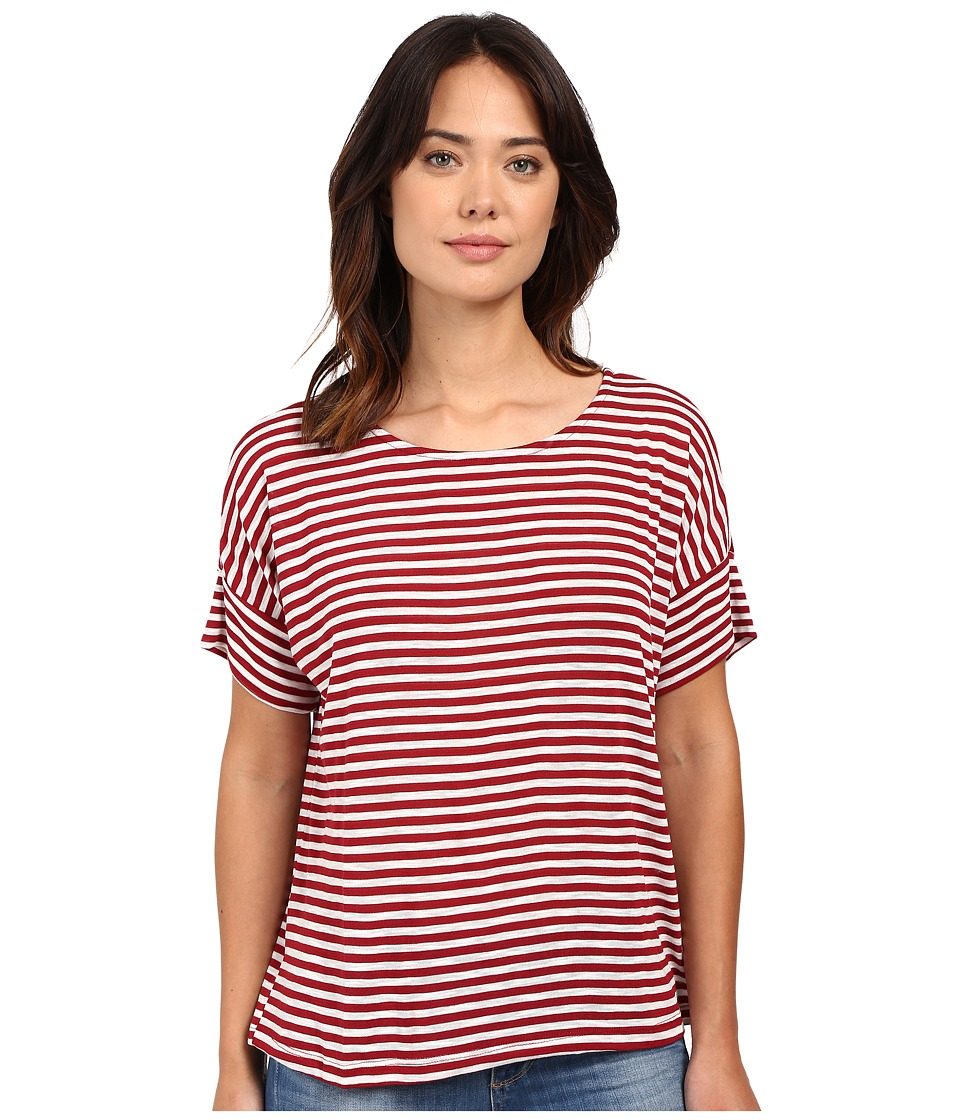 B Collection by Bobeau - Jaslyn Boxy Knit T-Shirt (Red Stripe) Women's T Shirt