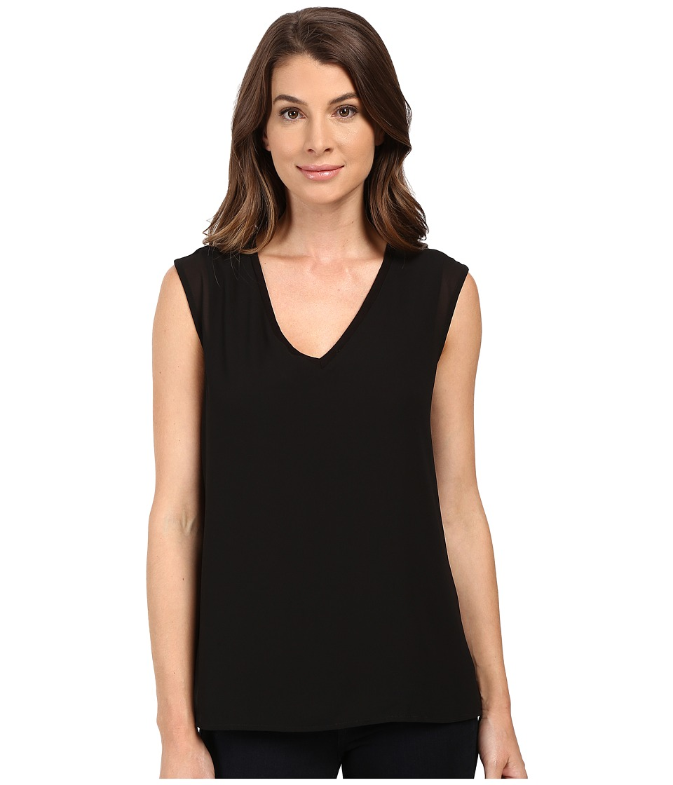 B Collection by Bobeau - Renee V-Neck Chiffon Layer T-Shirt (Black) Women's T Shirt