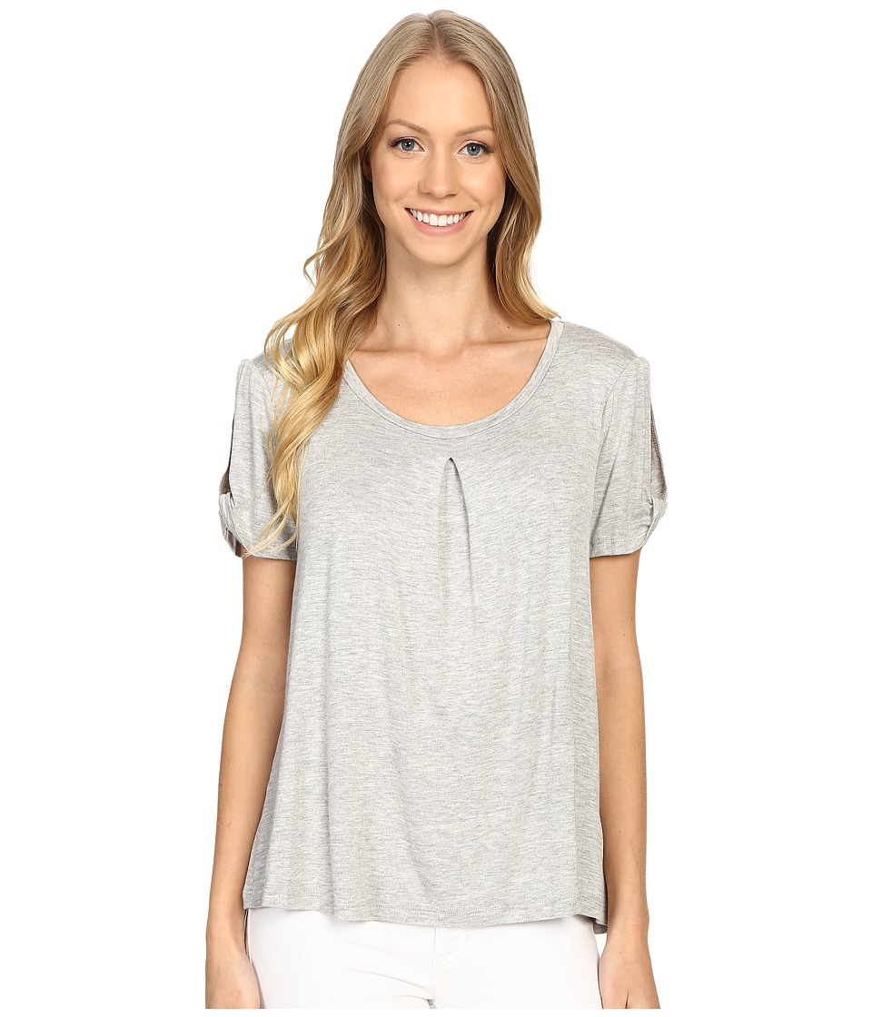B Collection by Bobeau - Calvin Slit Sleeve T-Shirt (Heather Grey) Women's T Shirt