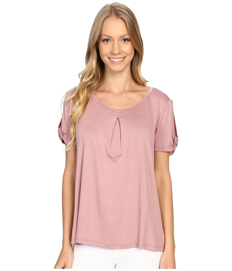 B Collection by Bobeau - Calvin Slit Sleeve T-Shirt (Mauve) Women's T Shirt