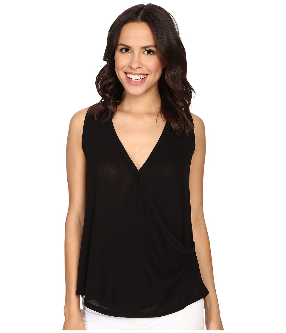 B Collection by Bobeau - Karlie Cross Front Knit Tank Top (Black) Women's Sleeveless