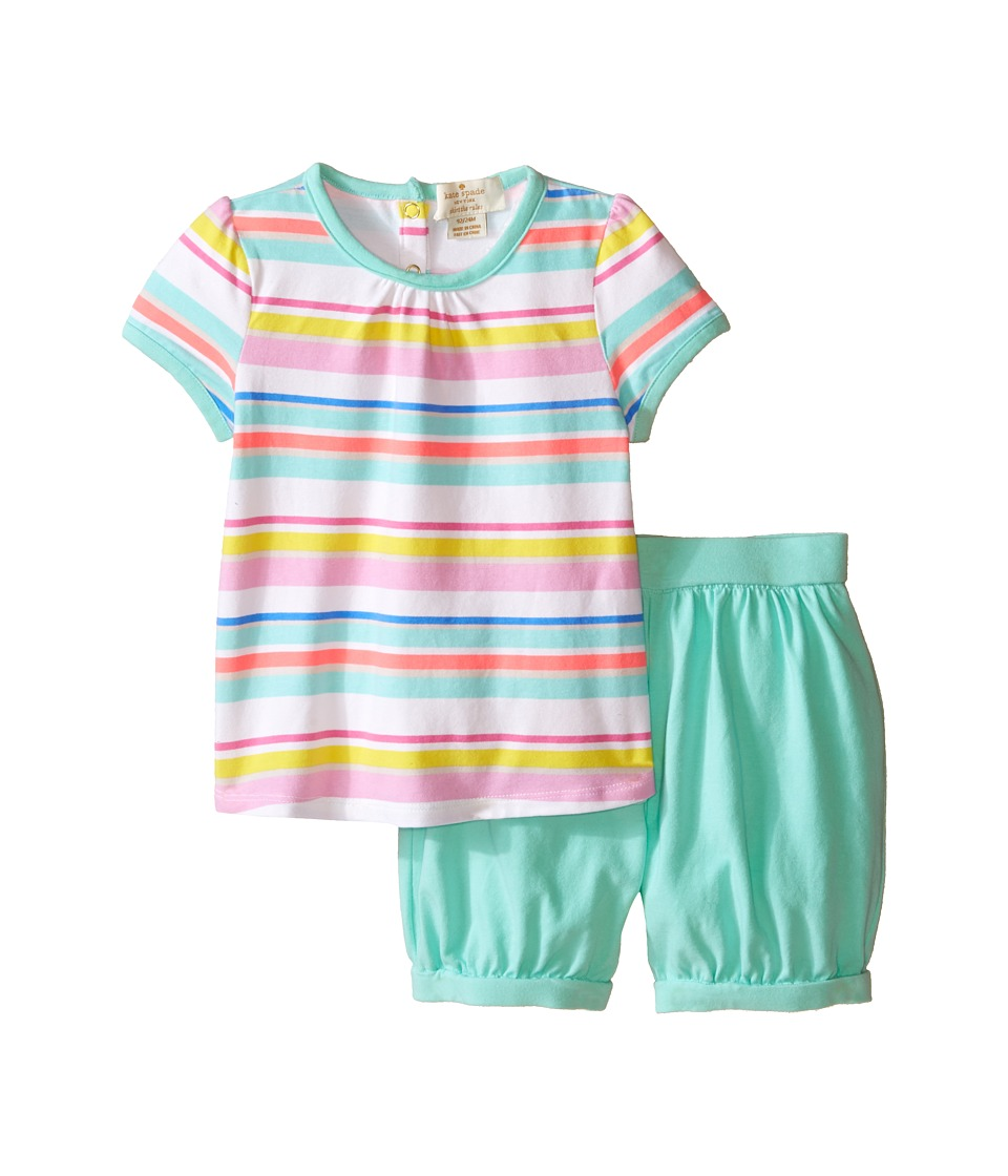 Kate Spade New York Kids - Cape Tee and Shorts Set (Infant) (Cape Stripe/Fresh Mint) Girl's Active Sets