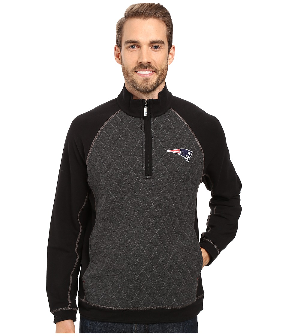 Tommy Bahama - New England Patriots NFL Gridiron 1/2 Zip Pullover (Patriots Black) Men's Sweatshirt