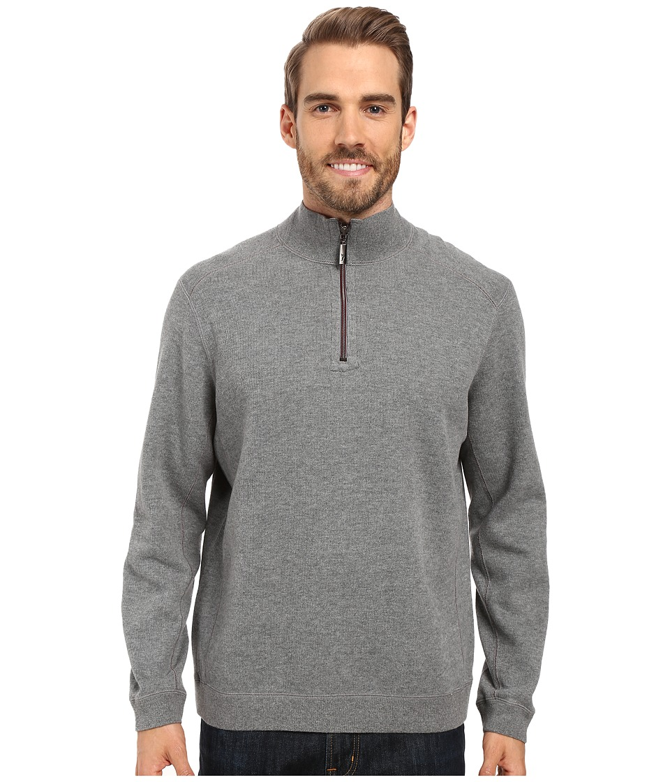 Tommy Bahama - Reversible New Flip Side Pro 1/2 Zip (Carbon Grey Heather) Men's Clothing
