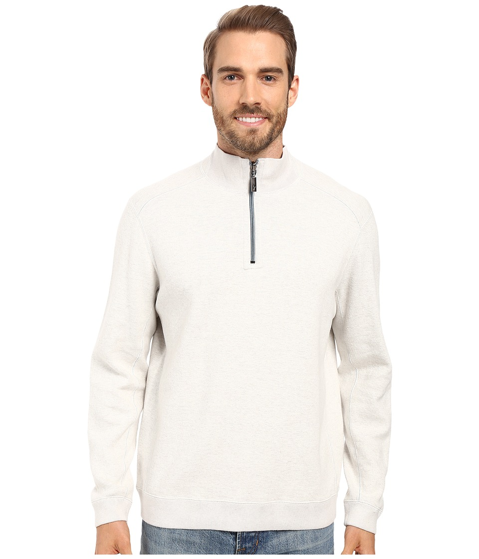 Tommy Bahama - Reversible New Flip Side Pro 1/2 Zip (Winter White Heather) Men's Clothing