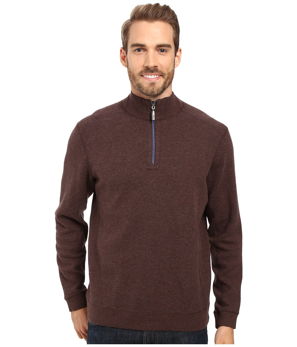 Tommy Bahama - Reversible New Flip Side Pro 1/2 Zip (Old Oak Heather) Men's Clothing