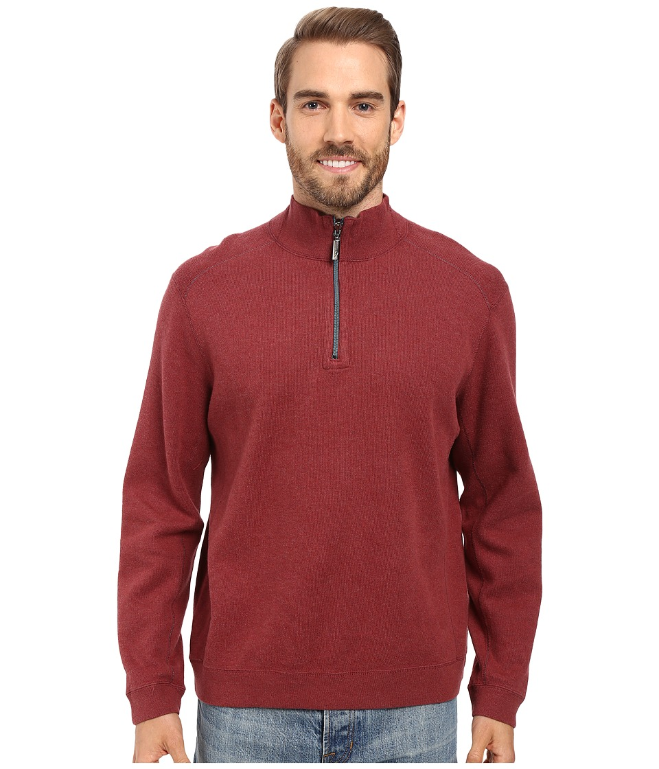 Tommy Bahama - Reversible New Flip Side Pro 1/2 Zip (Burnt Copper Heather) Men's Clothing