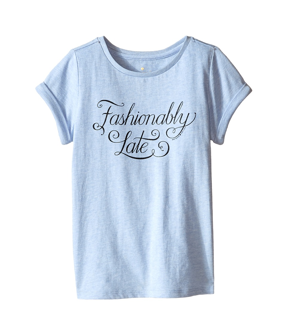 Kate Spade New York Kids - Fashionably Late Tee (Toddler/Little Kids) (Light Blue Heather) Girl's T Shirt