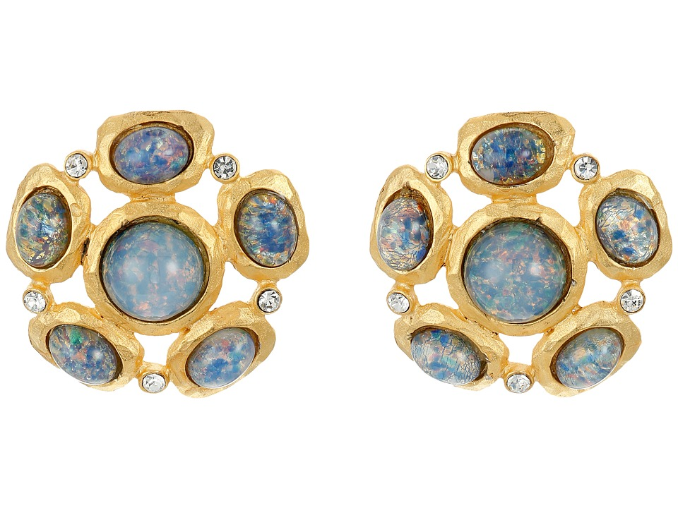 Kenneth Jay Lane - Satin Gold/Crystal/Blue Opal Cabs Cluster Pierced Ear Earrings (Blue Opal) Earring