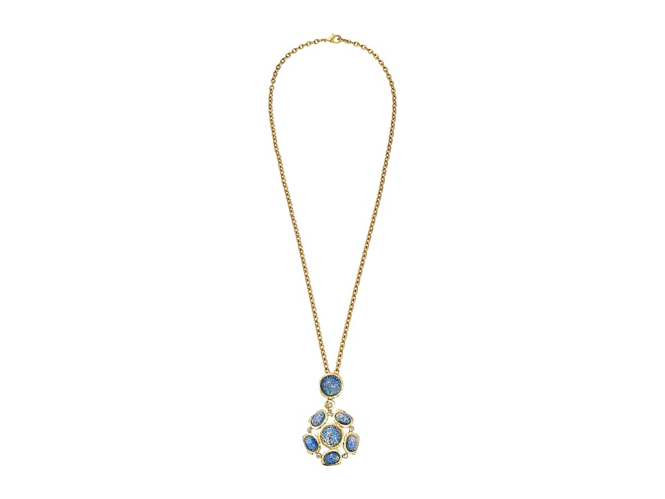 Kenneth Jay Lane - Satin Gold Blue Opal Cabs Pendant Necklace (Blue Opal) Necklace