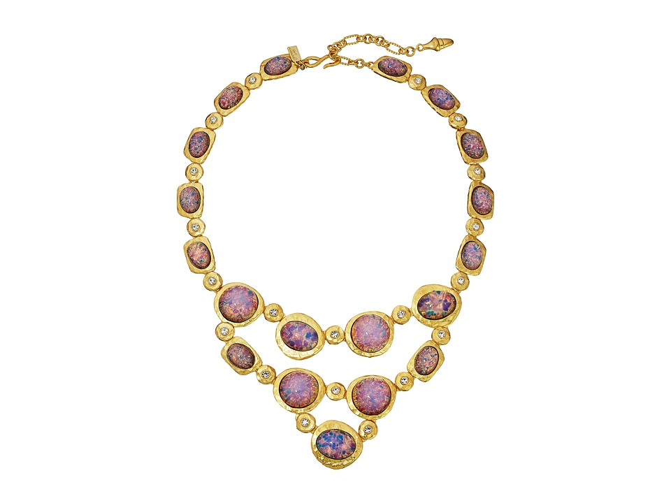 Kenneth Jay Lane - Satin Gold/Crystal/Pink Opal Cabs Bib Necklace (Pink Opal) Necklace
