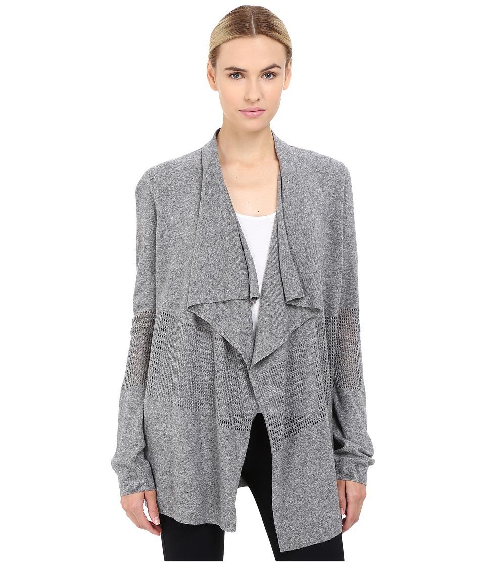 The Kooples - Crochet Stitch Jersey Open Cardigan (Grey) Women's Sweater