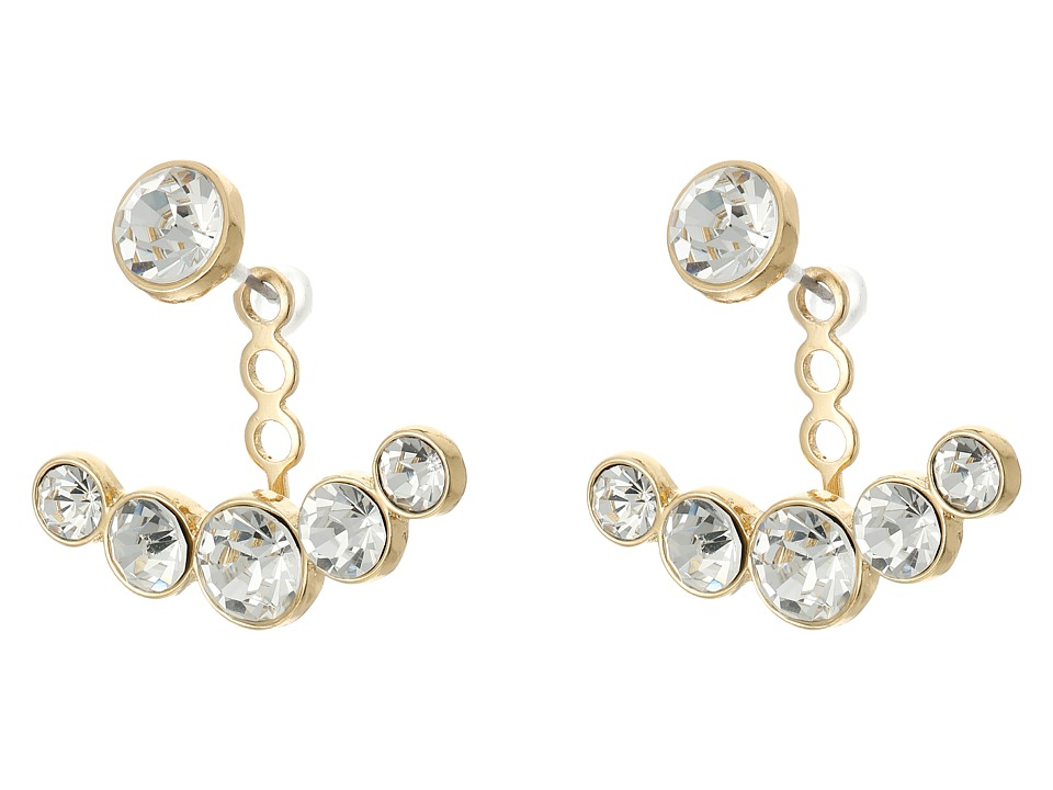 Kenneth Jay Lane - Gold/Faceted Crystal Post Ear Jacket Earrings (Gold/Crystal) Earring