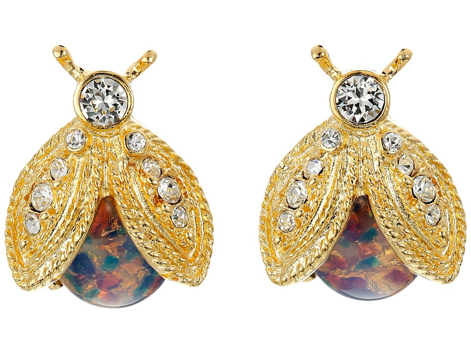 Kenneth Jay Lane - Polished Gold/Crystal/Pink Opal Bee Clip Earrings (Pink Opal) Earring