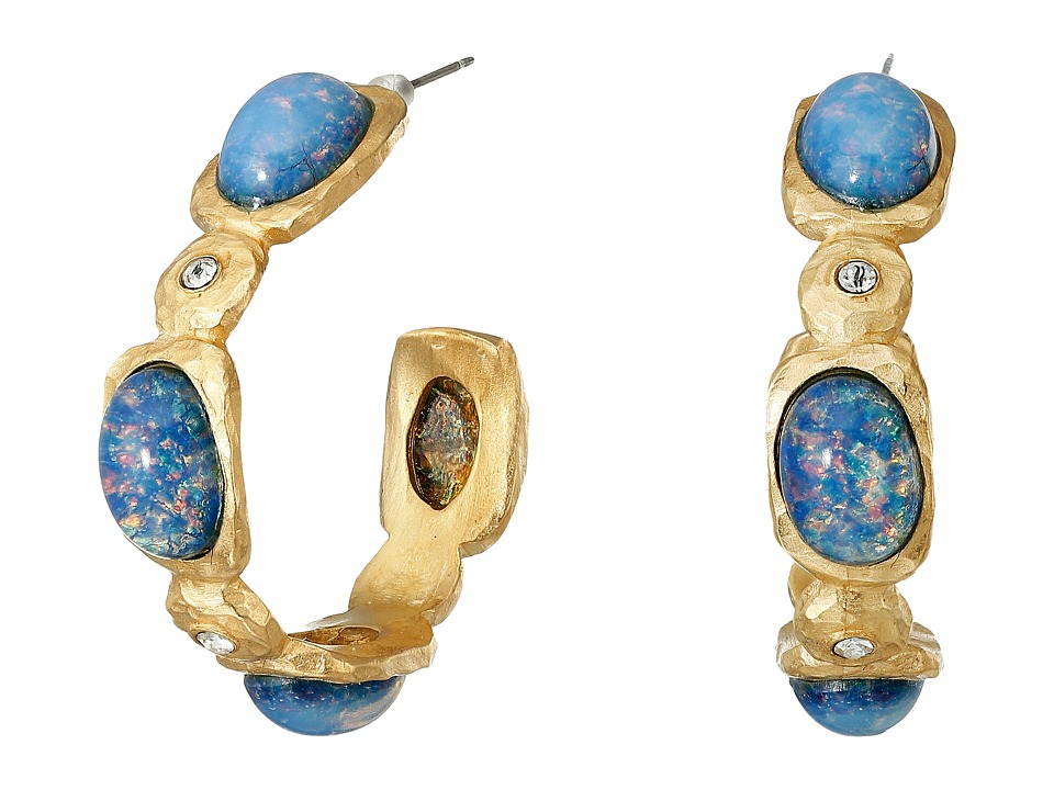Kenneth Jay Lane - Satin Gold/Crystal/Blue Opal Hoop Post Earrings (Blue Opal) Earring