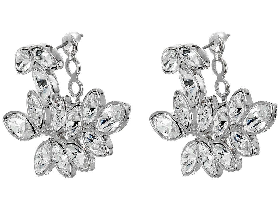 Kenneth Jay Lane - Silver/Crystal Leaf Post Ear Jcket Earrings (Silver/Crystal) Earring