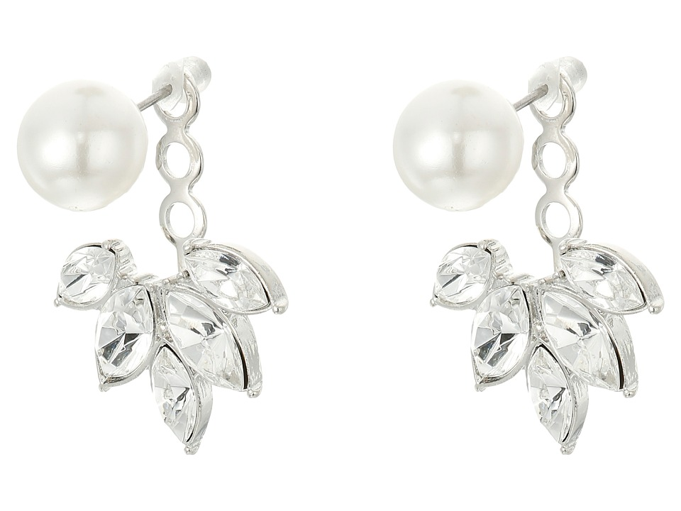 Kenneth Jay Lane - Pearl Top w/ Crystal Silver Drop Post Ear Jacket Earrings (Silver/Crystal/Pearl) Earring