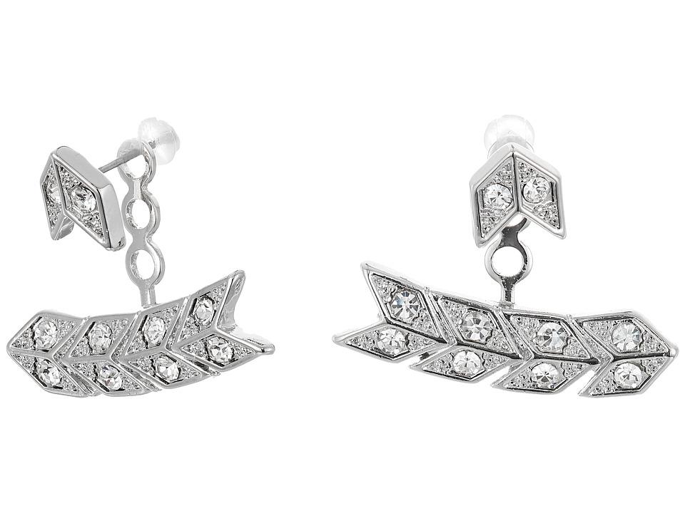 Kenneth Jay Lane - Silver/Crystal Chevron Post Ear Jacket Earrings (Silver/Crystal) Earring