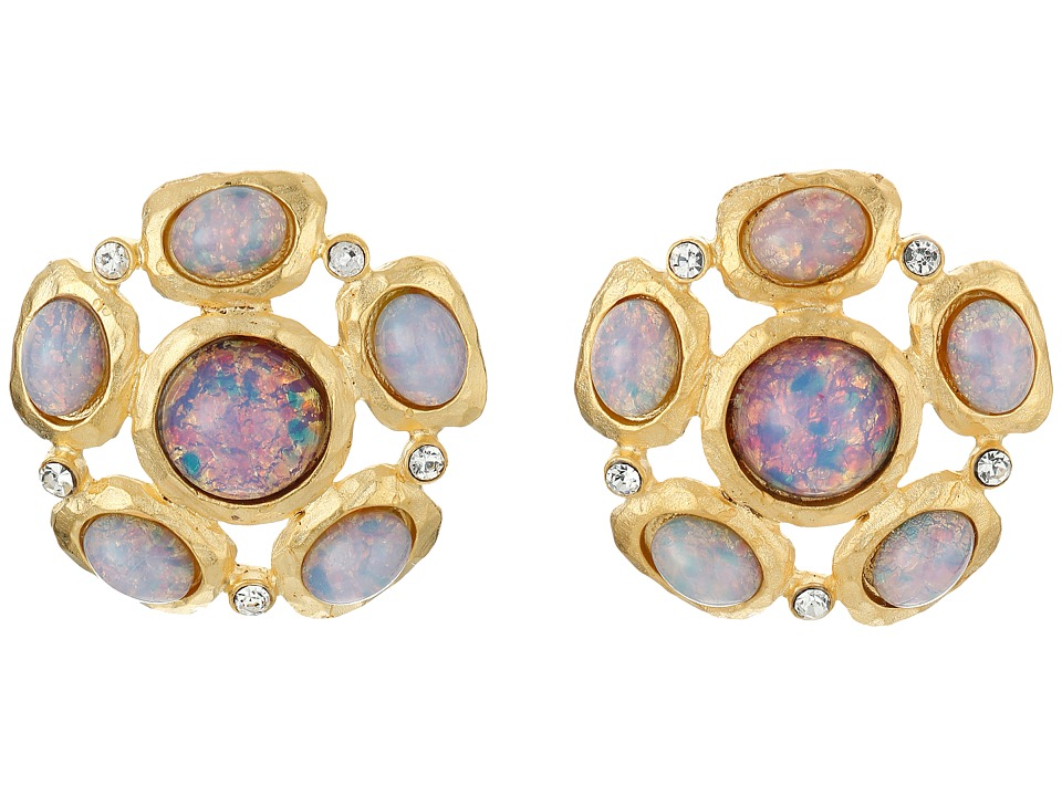 Kenneth Jay Lane - Satin Gold/Crystal Pink Opal Cab Cluster Pierced Ear Earrings (Pink Opal) Earring
