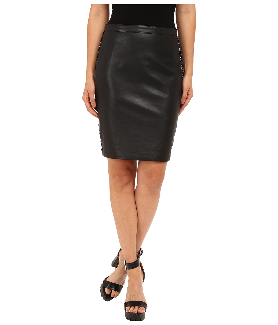 The Kooples - Leather Metallic Embroidery Skirt (Black) Women's Skirt