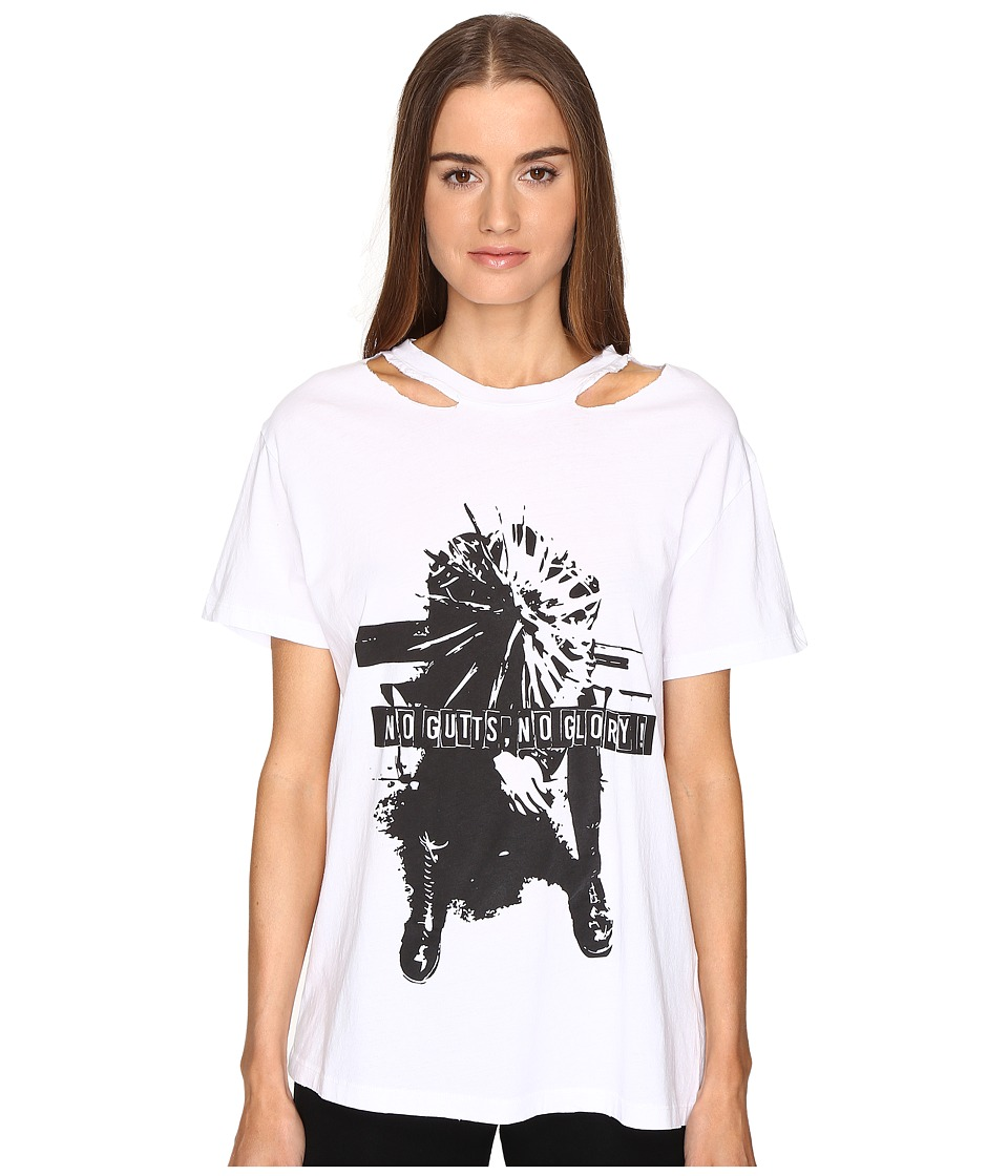 The Kooples - Washed Jersey Tee (White) Women's T Shirt