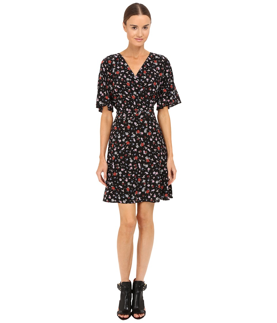 The Kooples Mix Flowers On Silk Crepe De Chine Dress