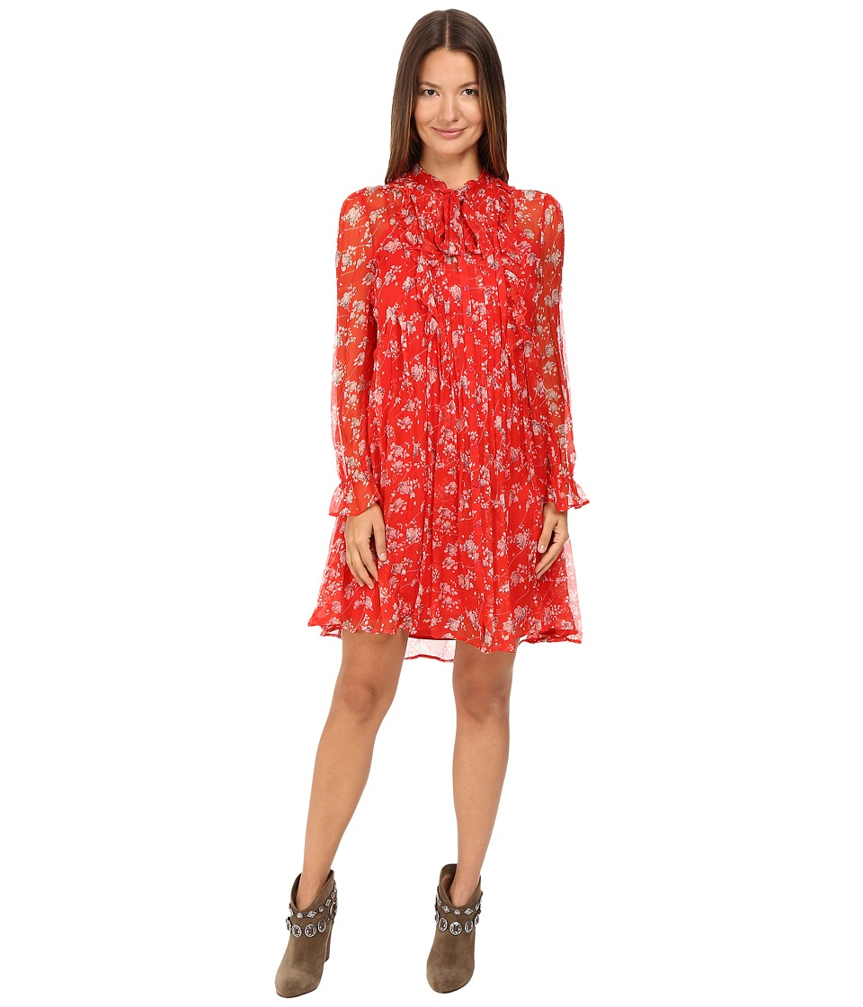 The Kooples - Dotted Line Flowers On Silk Crepon Dress (Red) Women's Dress