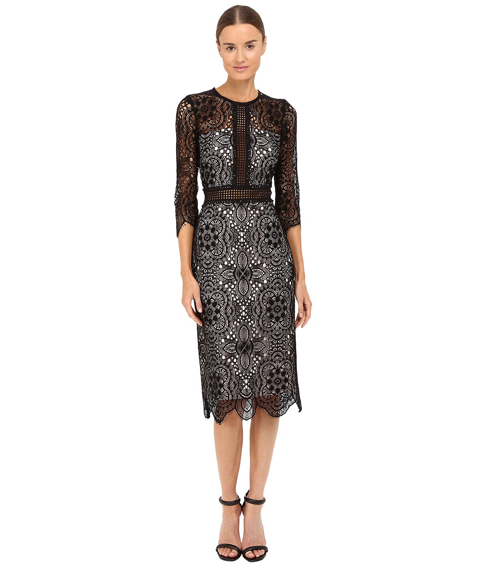 The Kooples - Mix Openwork Lace Dress (Black) Women's Dress
